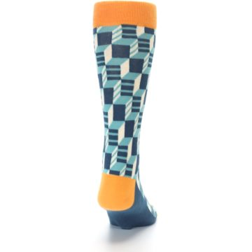 Image of Teal Orange Optical Men's Dress Socks (back-19)