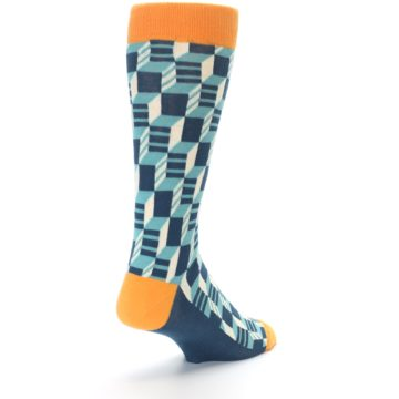 Image of Teal Orange Optical Men's Dress Socks (side-1-back-21)