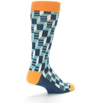 Image of Teal Orange Optical Men's Dress Socks (side-1-back-22)
