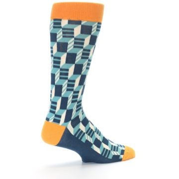 Image of Teal Orange Optical Men's Dress Socks (side-1-23)