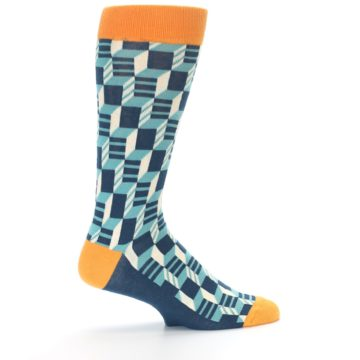 Image of Teal Orange Optical Men's Dress Socks (side-1-24)