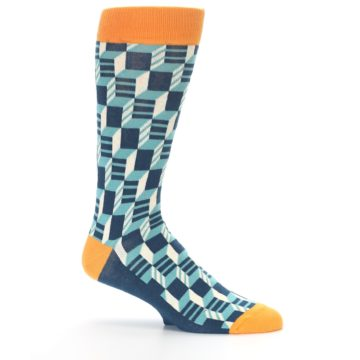 Image of Teal Orange Optical Men's Dress Socks (side-1-25)