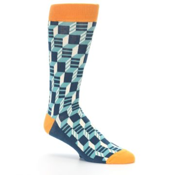 Image of Teal Orange Optical Men's Dress Socks (side-1-26)