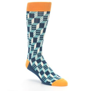 Image of Teal Orange Optical Men's Dress Socks (side-1-27)