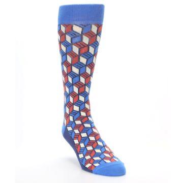 Image of Blue Red Cube Men's Dress Socks (side-1-front-02)