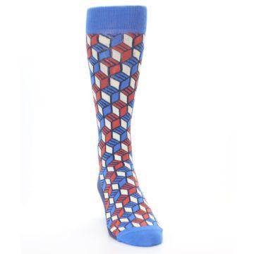 Image of Blue Red Cube Men's Dress Socks (side-1-front-03)