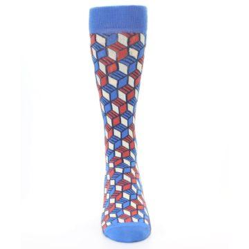 Image of Blue Red Cube Men's Dress Socks (front-04)