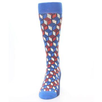 Image of Blue Red Cube Men's Dress Socks (front-05)