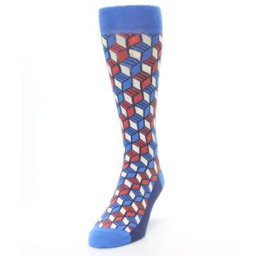 Image of Blue Red Cube Men's Dress Socks (side-2-front-06)