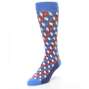 Image of Blue Red Cube Men's Dress Socks (side-2-front-07)