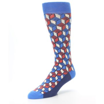 Image of Blue Red Cube Men's Dress Socks (side-2-front-08)