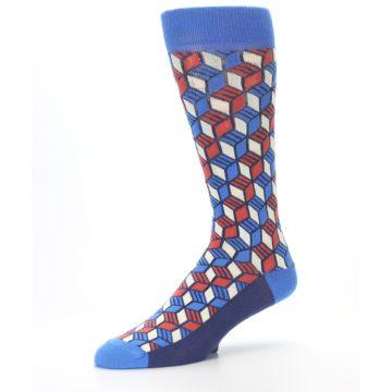 Image of Blue Red Cube Men's Dress Socks (side-2-09)