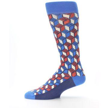 Image of Blue Red Cube Men's Dress Socks (side-2-11)