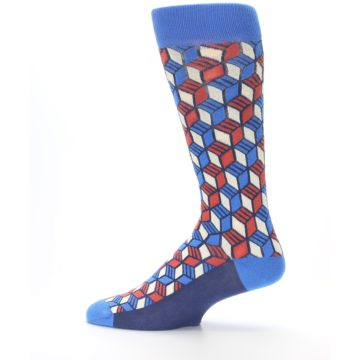 Image of Blue Red Cube Men's Dress Socks (side-2-12)