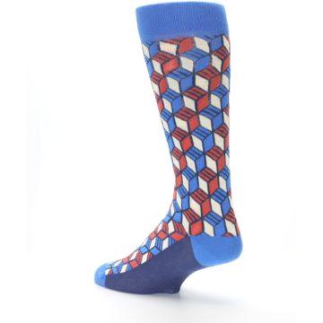 Image of Blue Red Cube Men's Dress Socks (side-2-back-14)
