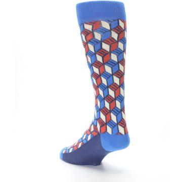 Image of Blue Red Cube Men's Dress Socks (side-2-back-15)