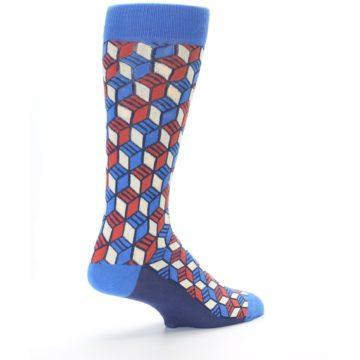 Image of Blue Red Cube Men's Dress Socks (side-1-back-22)
