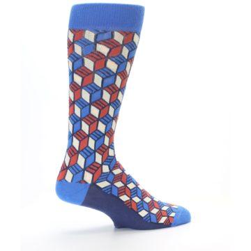 Image of Blue Red Cube Men's Dress Socks (side-1-23)