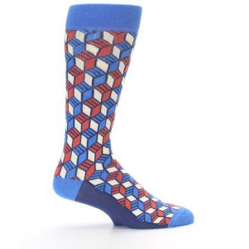 Image of Blue Red Cube Men's Dress Socks (side-1-24)