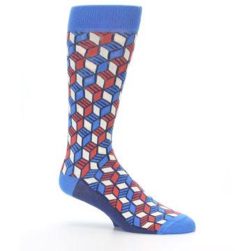 Image of Blue Red Cube Men's Dress Socks (side-1-25)