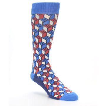 Image of Blue Red Cube Men's Dress Socks (side-1-27)