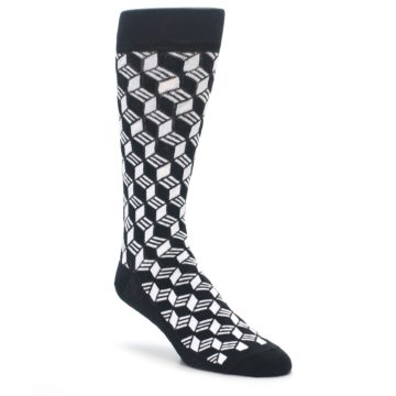 Black and White Cube Pattern Socks by Statement Sockwear