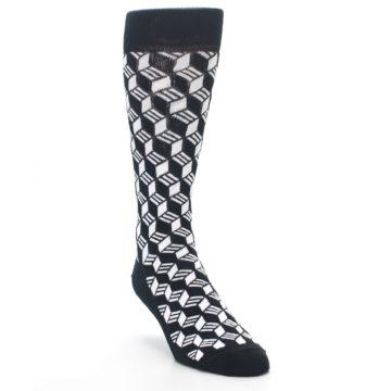 Image of Black White Cube Men's Dress Socks (side-1-front-02)