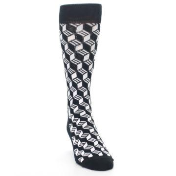 Image of Black White Cube Men's Dress Socks (side-1-front-03)