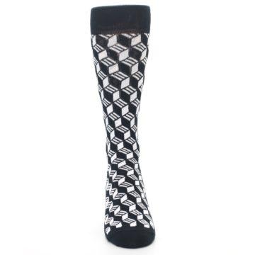 Image of Black White Cube Men's Dress Socks (front-04)