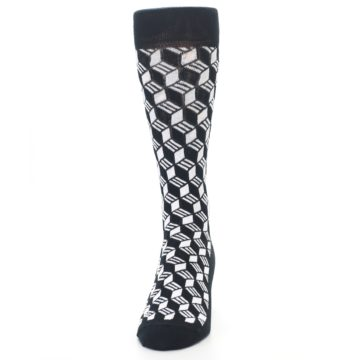 Image of Black White Cube Men's Dress Socks (front-05)
