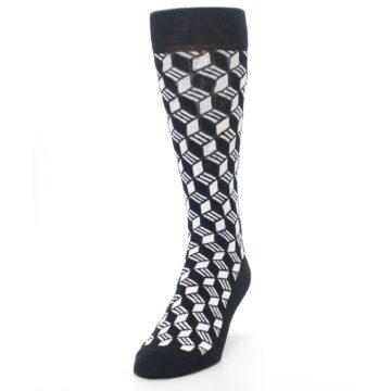 Image of Black White Cube Men's Dress Socks (side-2-front-06)