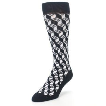 Image of Black White Cube Men's Dress Socks (side-2-front-07)
