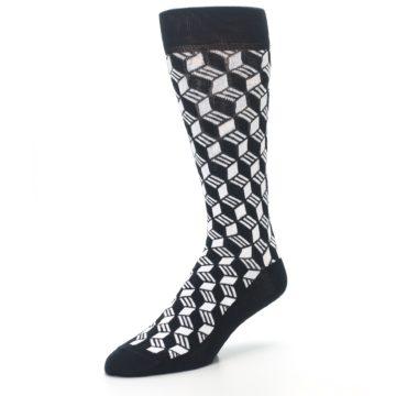 Image of Black White Cube Men's Dress Socks (side-2-front-08)