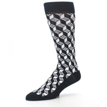 Image of Black White Cube Men's Dress Socks (side-2-09)