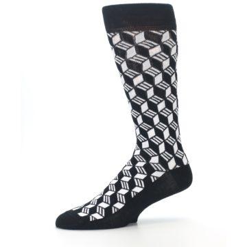 Image of Black White Cube Men's Dress Socks (side-2-10)