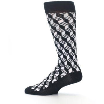 Image of Black White Cube Men's Dress Socks (side-2-12)