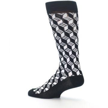 Image of Black White Cube Men's Dress Socks (side-2-13)