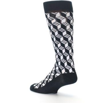 Image of Black White Cube Men's Dress Socks (side-2-back-14)