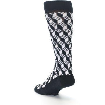 Image of Black White Cube Men's Dress Socks (side-2-back-15)