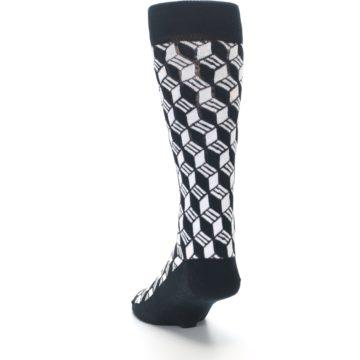 Image of Black White Cube Men's Dress Socks (side-2-back-16)