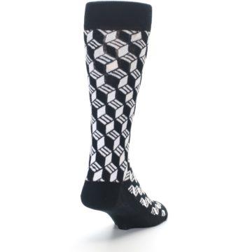 Image of Black White Cube Men's Dress Socks (side-1-back-20)