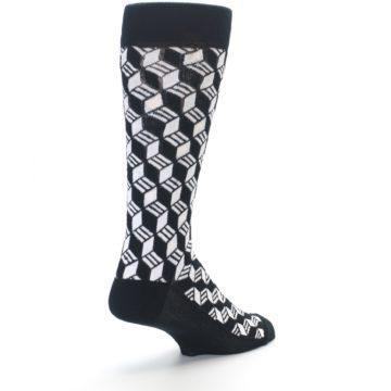 Image of Black White Cube Men's Dress Socks (side-1-back-21)