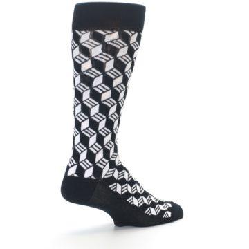 Image of Black White Cube Men's Dress Socks (side-1-back-22)