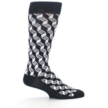 Image of Black White Cube Men's Dress Socks (side-1-24)