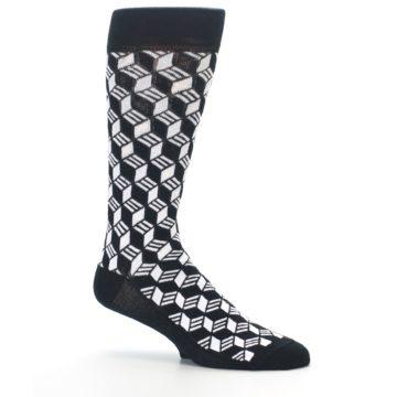 Image of Black White Cube Men's Dress Socks (side-1-26)