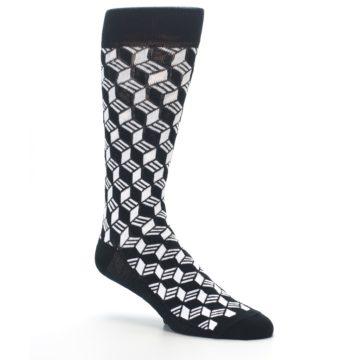 Image of Black White Cube Men's Dress Socks (side-1-27)