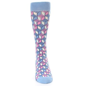 Image of Blue Pink Cube Men's Dress Socks (front-04)