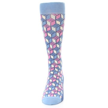 Image of Blue Pink Cube Men's Dress Socks (front-05)