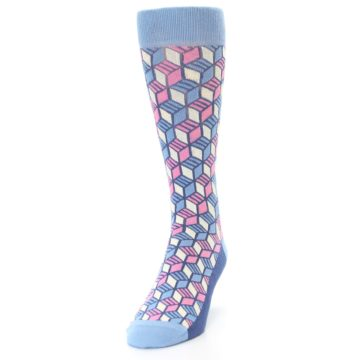 Image of Blue Pink Cube Men's Dress Socks (side-2-front-06)