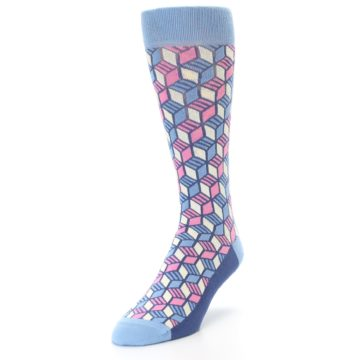 Image of Blue Pink Cube Men's Dress Socks (side-2-front-07)